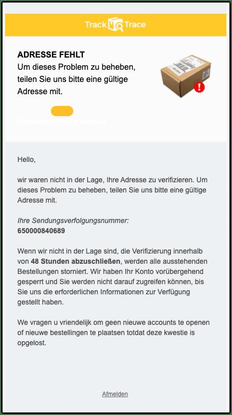 2020-09-29 Verteilerzentrum Spam Mail