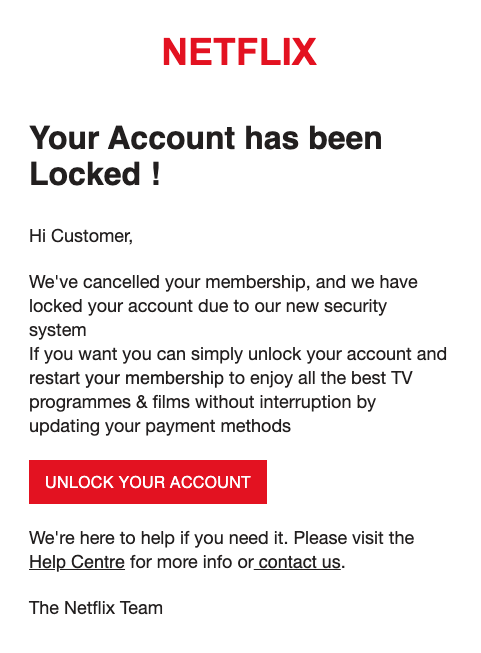 2020-09-30 Netflix SPam Fake-Mail Your Membership Payment Declined