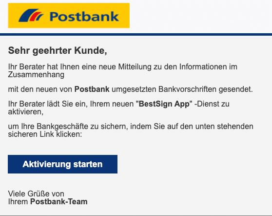 2020-10-01 Postbank Spam Fake-Mail Ihr Berater