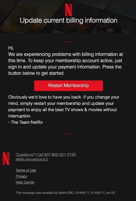 2020-10-02 Netflix Spam-Mail Update subscription payment