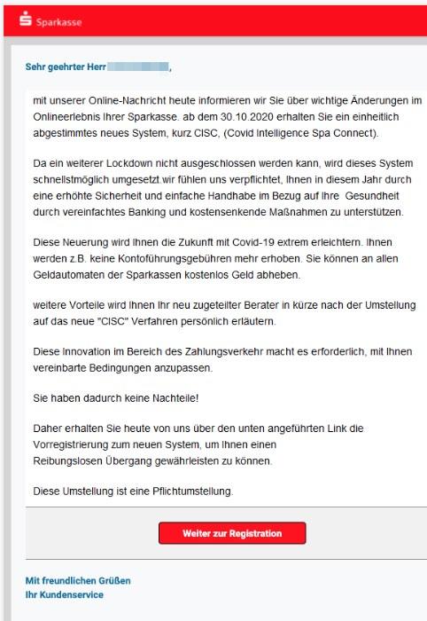 2020-10-02 Sparkasse Spam Fake-Mail Das neue CISC System