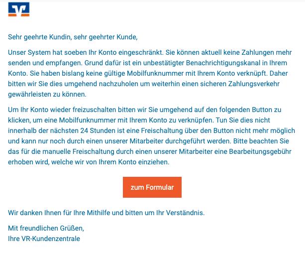 2020-10-02 Volksbank Spam-Mail Einschraenkung Ihres Kontos