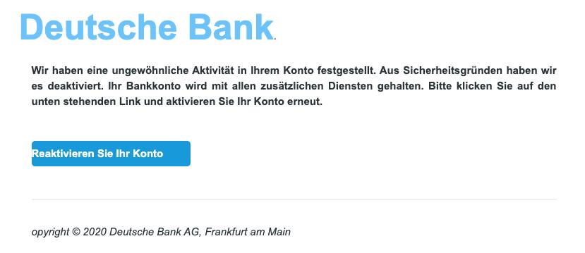 2020-10-05 Deutsche Bank Spam Fake-Mail Kontobestaetigung erforderlich