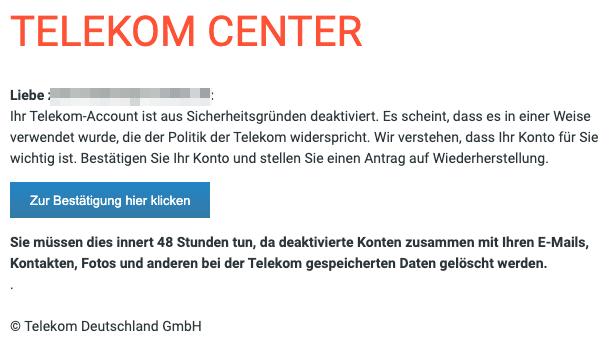 2020-10-05 Telekom Spam-Mail Account deaktiviert