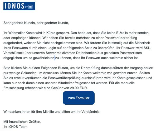 2020-10-06 IONOS Spam-Mail Fake Ihr Passwort ist eventuell gefaehrdet