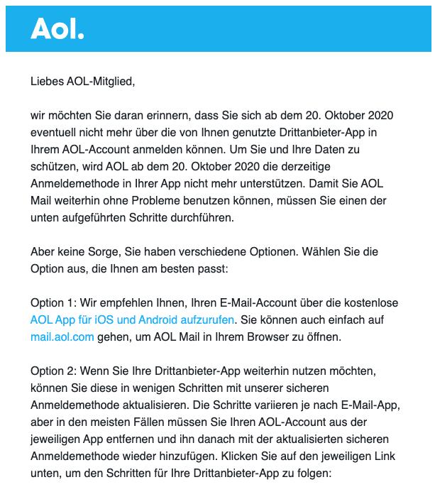 2020-10-07 AOL Mail Wichtig- Ihre Account-Sicherheit ist nicht auf dem neuesten Stand