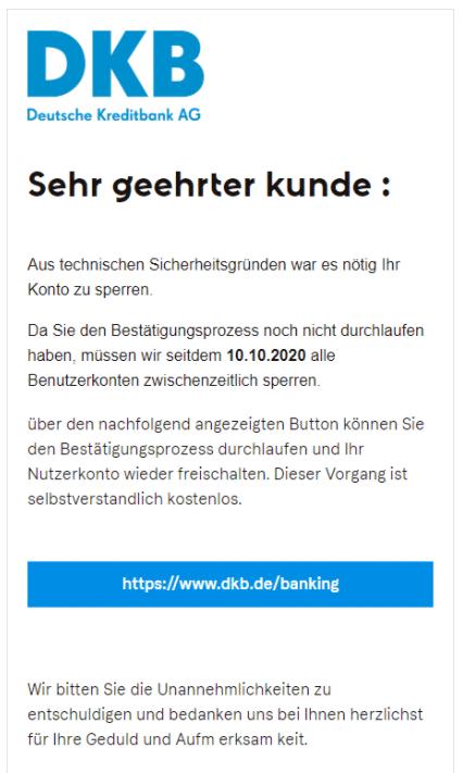 2020-10-09 DKB Spam-Mail Fake konto gesperrt