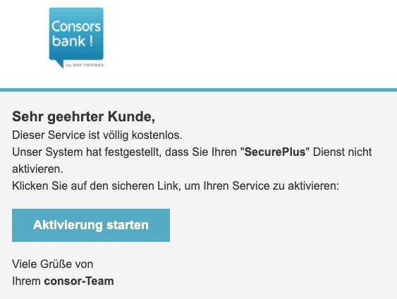 2020-10-23 Consorsbank Spam Fake-Mail Wichtige Nachricht
