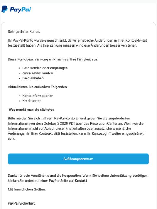 2020-10-06 PayPal Spam Fake-Mail PayPal-Sicherheitsalarm- Anmeldung erkannt
