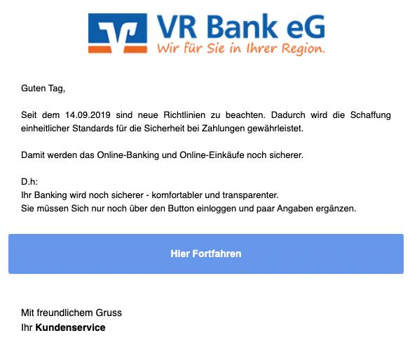 2020-10-06 Volksbank Phishing Spam-Mail Meldung