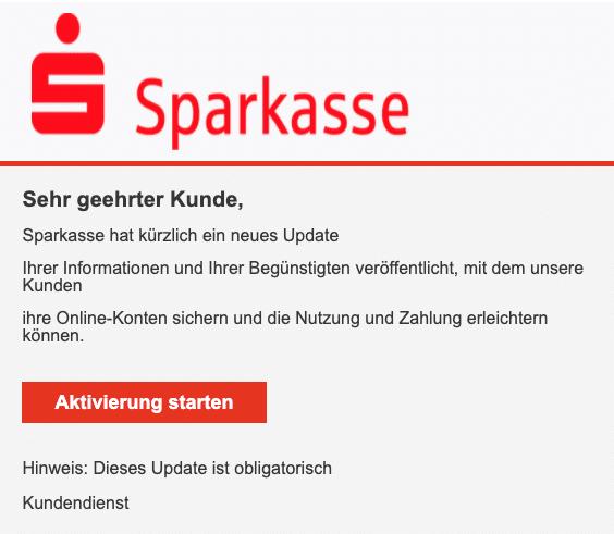 2020-10-09 Sparkasse Spam Fake-Mail Nachricht wichtig