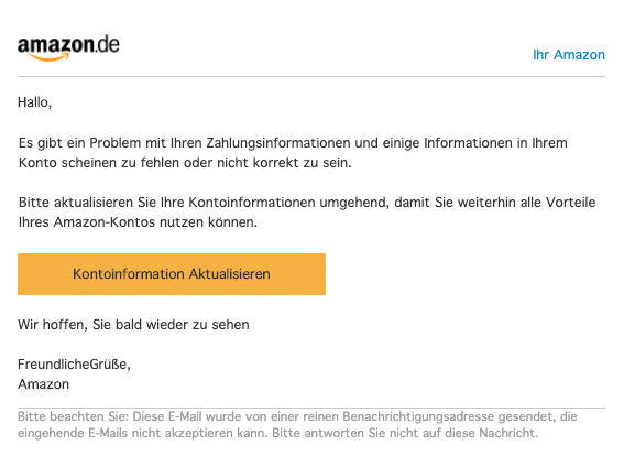 2020-10-12 Amazon Spam-Mail Fake Kontoauszug