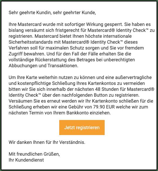 Mastercard Gesperrt Spam