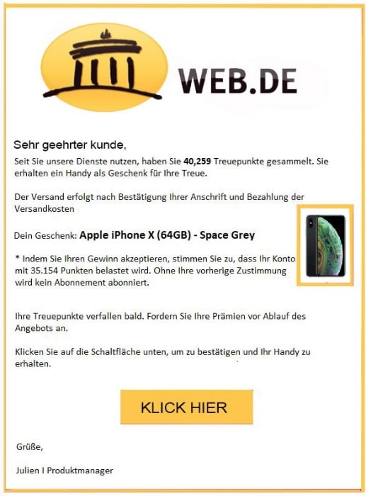 2020-10-22 web-de Spam Fake Abofalle iPhone X