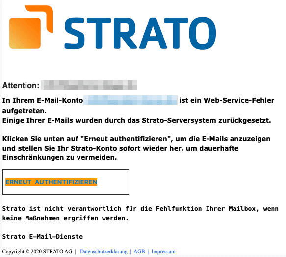 2020-10-23 Strato Fake Spam-Mail