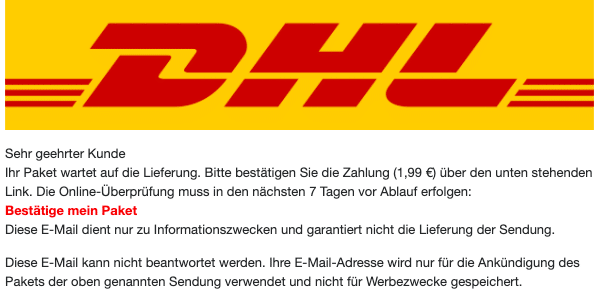 2020-10-26 DHL Spam Fake-Mail Abofalle