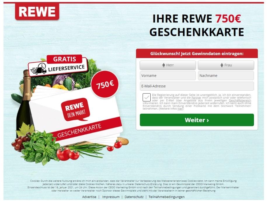 2020-10-27 REWE Spam Fake-Mail 750 Euro Gutschein