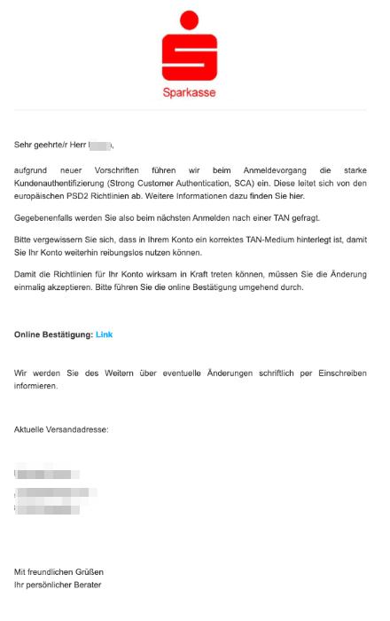 2020-10-27 Sparkasse Spam-Mail Aenderung des Anmeldeverfahrens