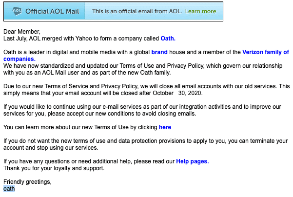 2020-10-28 AOL Phishing Fake-Mail Please Update Your AOL Account