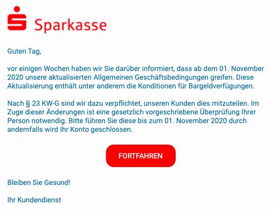 2020-10-30 Sparkasse Spam-Mail Aktualisierung der Allgemeinen Geschaeftsbedingungen