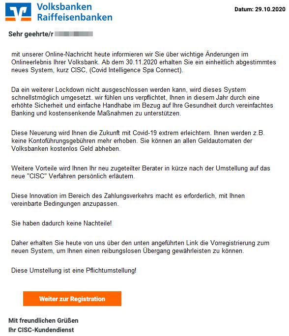 2020-10-30 Volksbank Spam Fake-Mail Umstellung auf das CISC-System