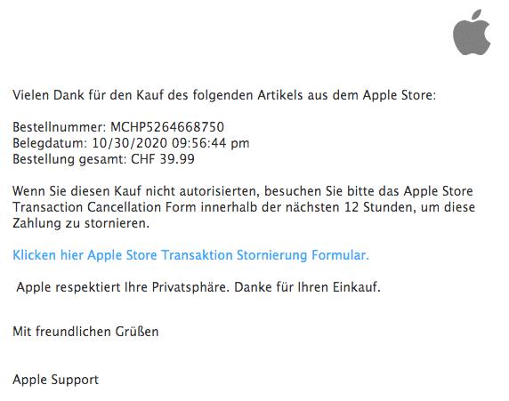 2020-10-31 Apple Fake-Mail Apple Rechnung Danke Fuer Ihren Einkauf