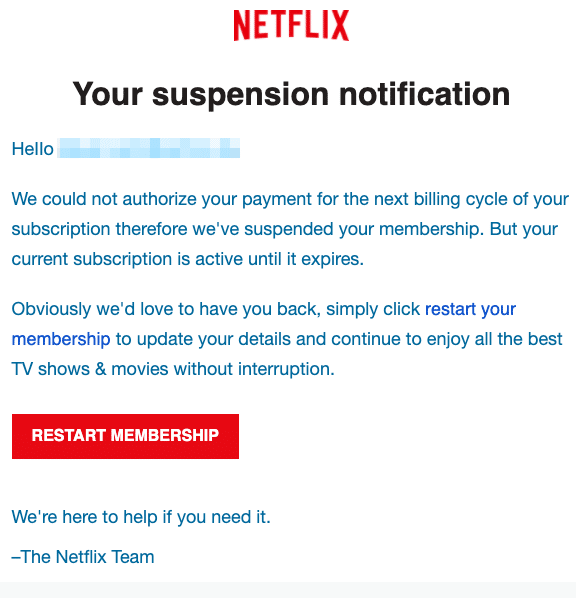 2020-11-03 Netflix Spam Fake-Mail Action needed
