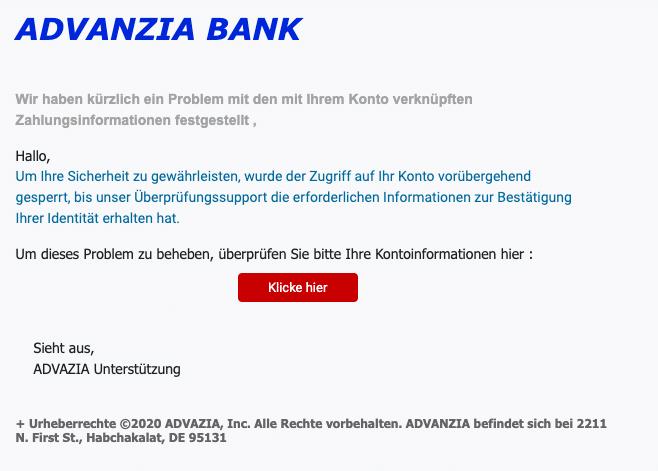 2020-11-04 Advanzia Bank Fake-Mail Handlung erforderlich