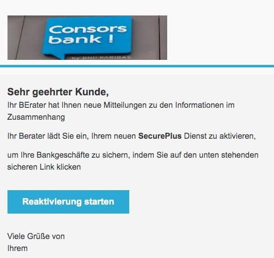 2020-11-06 Consorsbank Spam Fake-Mail SecurePlus Aktivieren