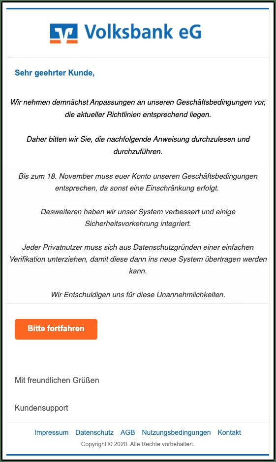 2020-11-16 Phishing Volksbank
