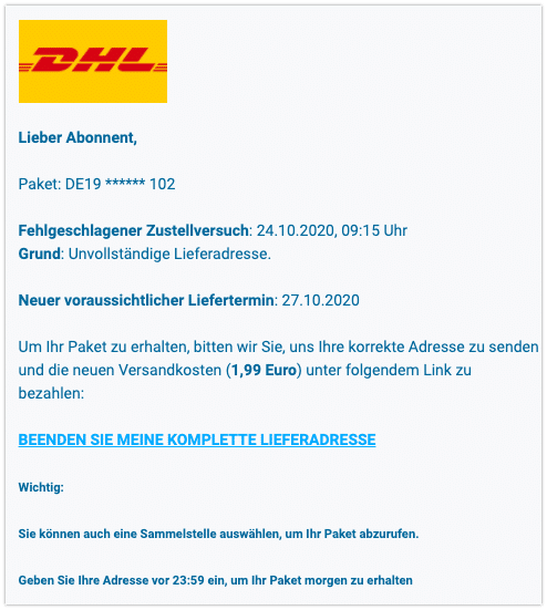 Mail DHL Spam Abofalle