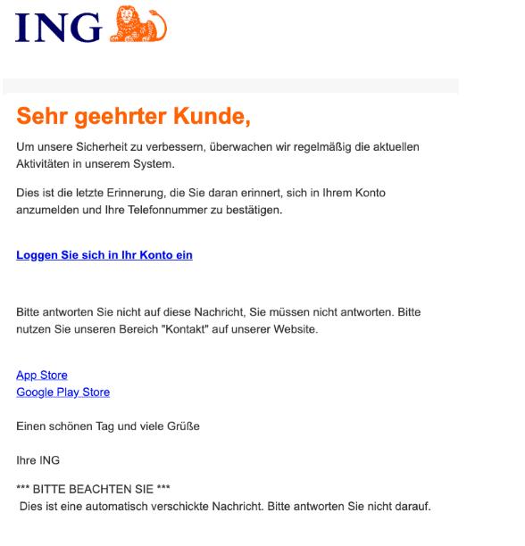 2020-11-03 ING Diba Spam Fake-Mail Sicherheitsbenachrichtigung