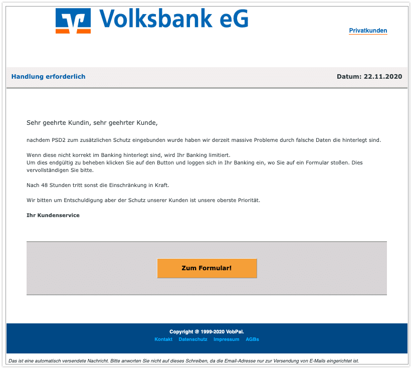 2020-11-14 Phishing Volksbank