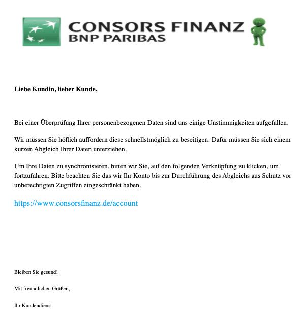 2020-12-21 Consors Spam-Mail Unberechtigte Zugriffe