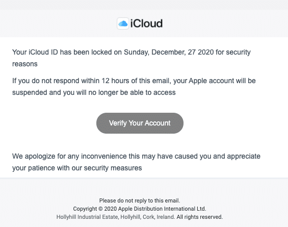 2020-12-28 Apple Spam-Mail Fake Apple ID