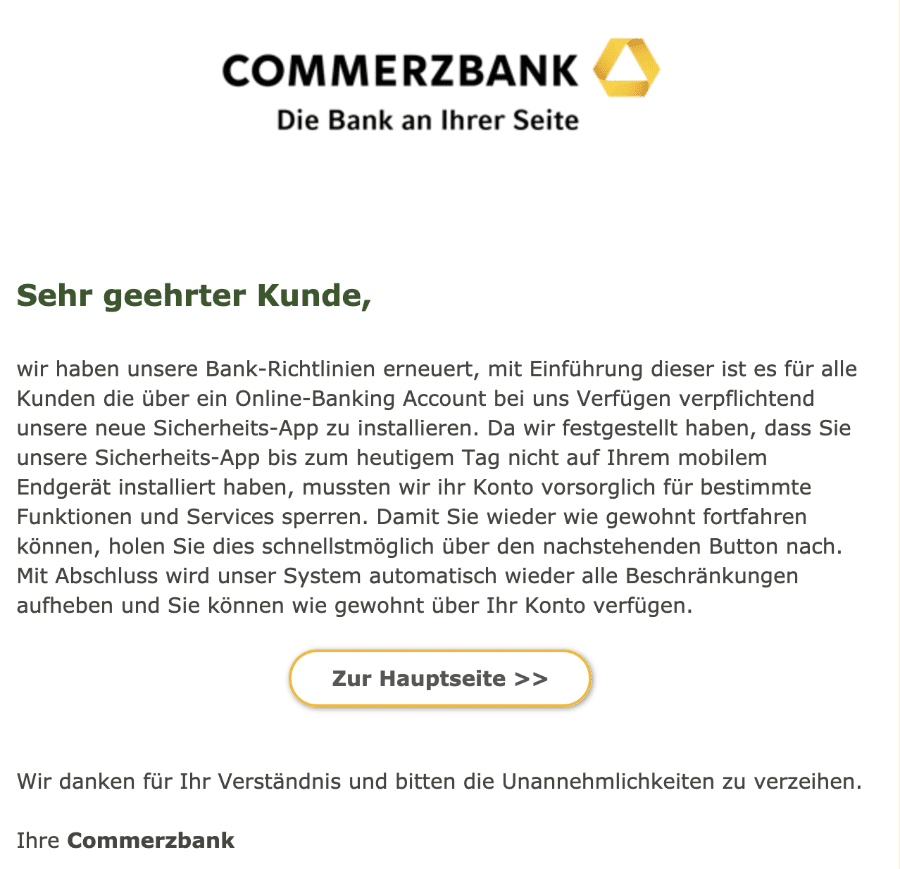 2020-12-14 Commerzbank Kundenmitteilung Spam Fake-Mail