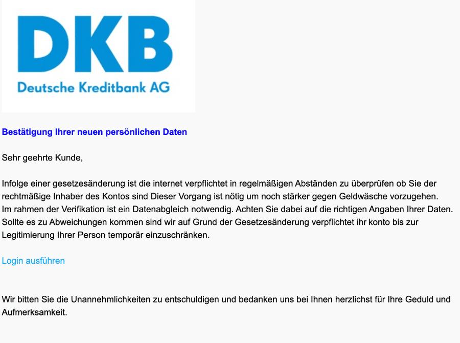 2020-12-14 DKB Spam-Mail Neue Mitteilung