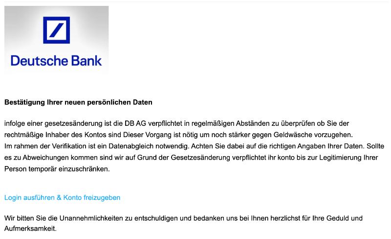 2020-12-14 Deutsche Bank Fake-Mail Neue Nachricht