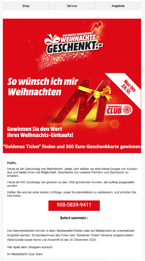 2020-12-15 MediaMarkt Spam Ihr Media Markt-Gutschein wartet