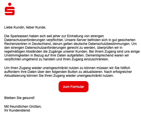 2020-12-22 Sparkasse Spam Fake-Mail
