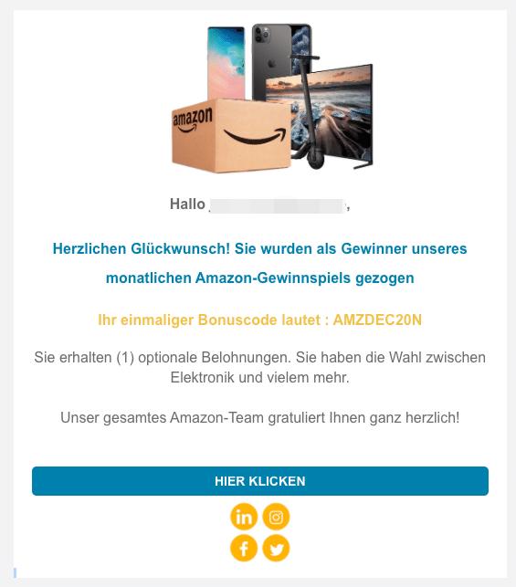 2020-12-23 Amazon Spam-Mail Gewinn