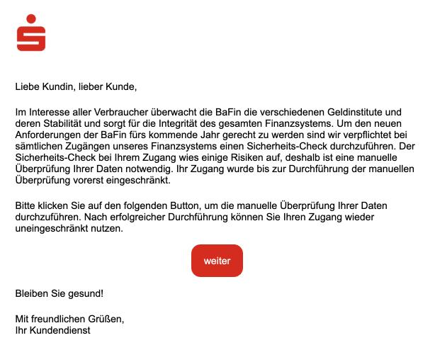 2020-12-26 Sparkasse Spam Fake-Mail