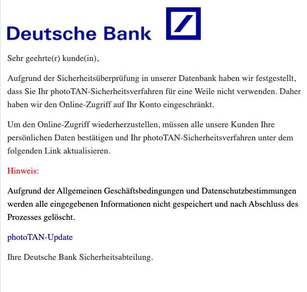 2020-12-28 Deutsche Bank AG Spam Fake-Mail photoTan