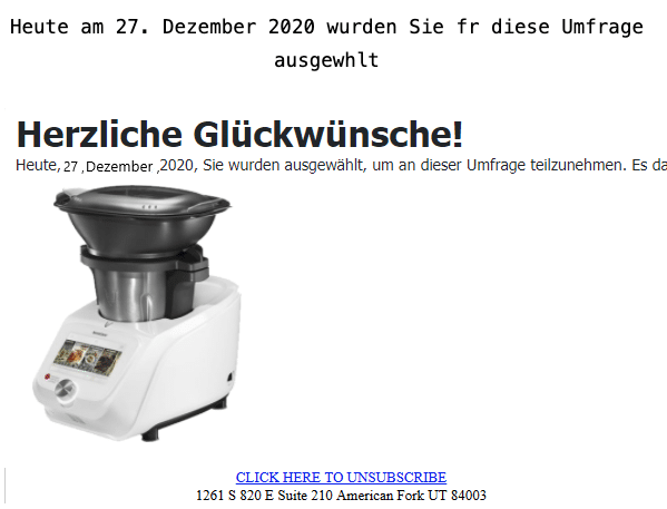 2020-12-28 Lidl Spam Fake-Mail Kuechenmaschine