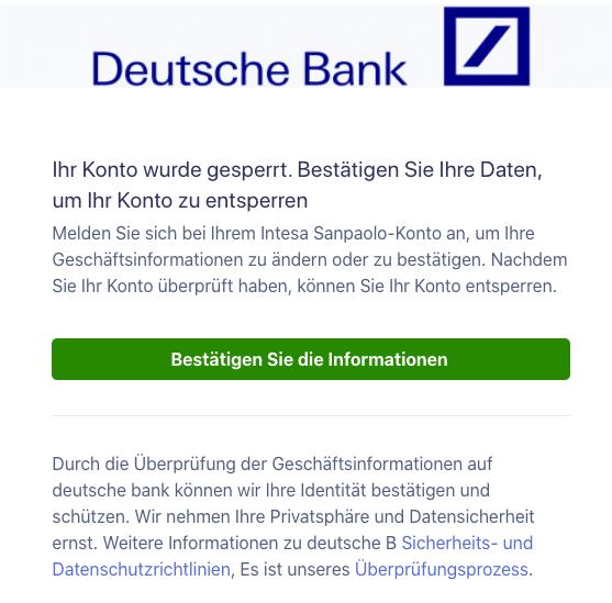 2020-12-29 Deutsche Bank Spam Fake-Mail Konto gesperrt