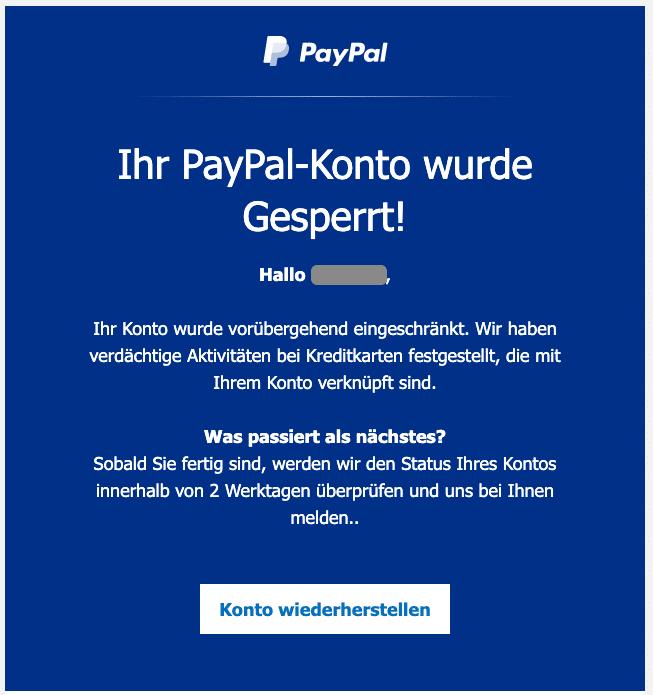 2020-12-29 PayPal Spam Fake-Mail Jemand hat sich in Ihrem Konto angemeldet