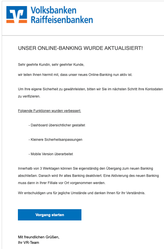 2020-12-29 Volksbank Spam Fake-Mail Neues Onlinebanking