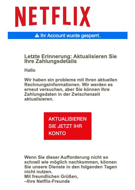 2020-12-30 Netflix Spam-Fake-Mail Rechnungsproblem
