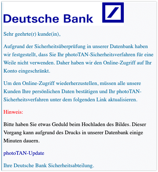 2021-01-04 Phishing Deutsche Bank