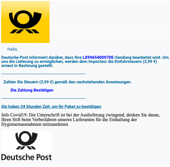 2021-01-06 Deutsche Post Paket Ihr Paket ist beim Zoll gesperrt